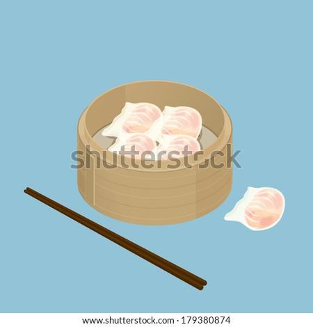 A illustration of Chinese dim sum, Har Gau, Shrimp Dumpling - stock photo