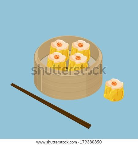 A illustration of Chinese dim sum, Shu Mai - stock photo