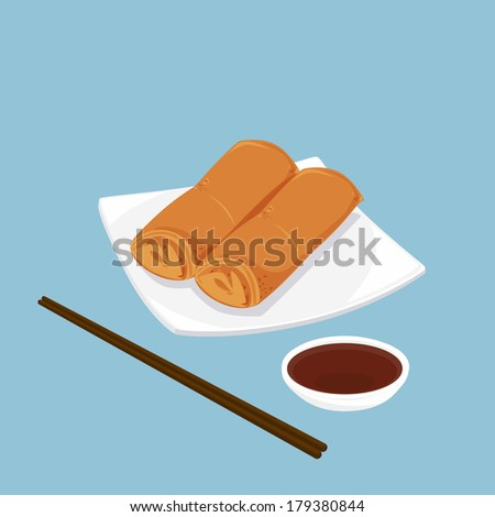 A illustration of Chinese dim sum, Spring rolls  - stock photo