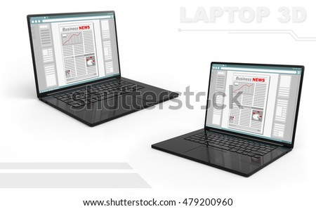 A illustration of 3D render of black perspective laptop set with Business newspaper screen