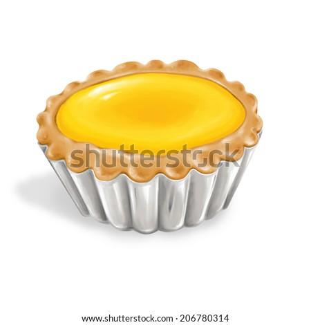 A illustration of hong kong style food egg tart  - stock photo