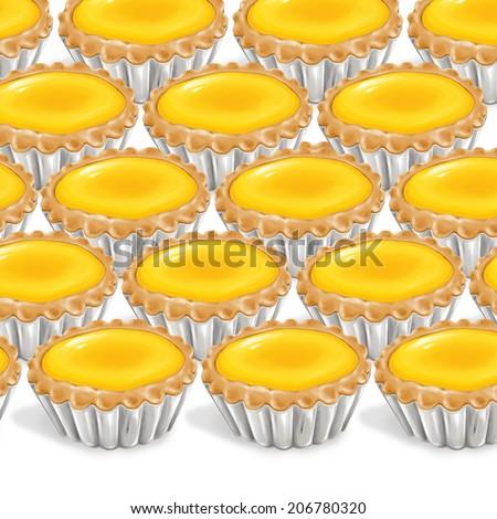 A illustration of hong kong style food egg tarts  - stock photo