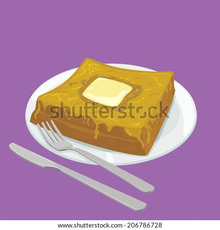 A illustration of Hong Kong style food French Toast with butter  - stock photo