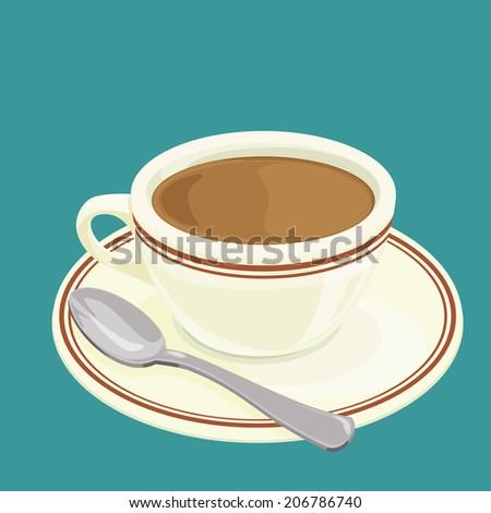 A illustration of Hong Kong style food hot milk tea - stock photo