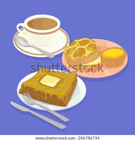 A illustration of Hong Kong style food set.Teatime ( Pineapple bun, egg tart, french toast, hot milk tea ) - stock photo