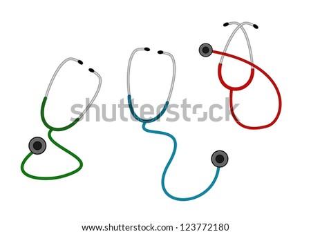 A illustration of three color stethoscope set . - stock photo
