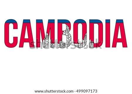 A illustration with the country flag overlaying the country name of Cambodia