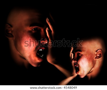 A image of a pair of men expressing terrible sorrow. Or they could have a headpain. - stock photo