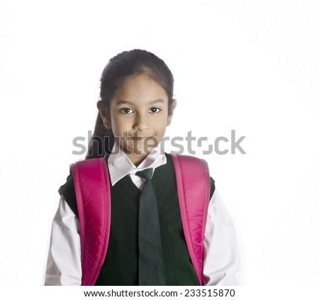 A Indian school girl - stock photo