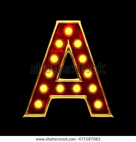 a isolated golden letter with lights on black. 3d illustration