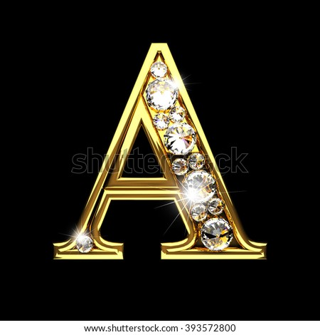 a isolated golden letters with diamonds on black