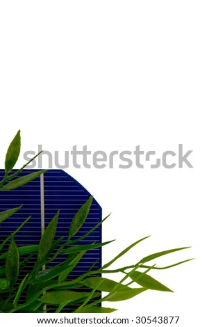 A 5 isolated Solar-Cell with leafs - stock photo