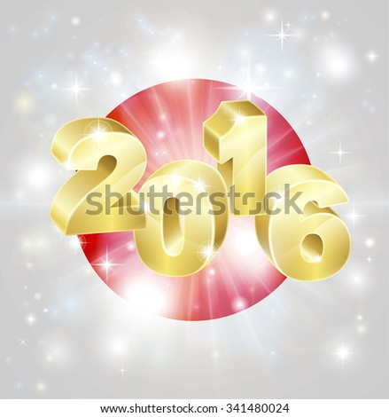 A Japanese flag with 2016 coming out of it with fireworks. Concept for New Year or anything exciting happening in Japan in the year 2016. - stock photo