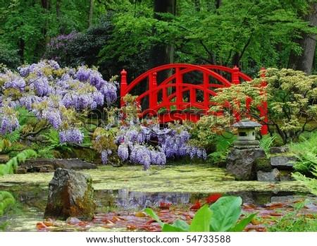 A japanese garden in spring - stock photo