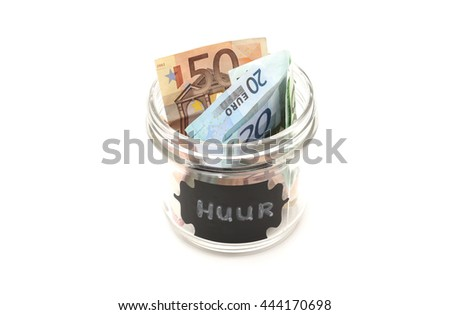A jar filled with money labelled with the dutch word for rent