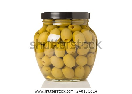 A Jar of Green Kalamata Olives Isolated on a White Background - stock photo
