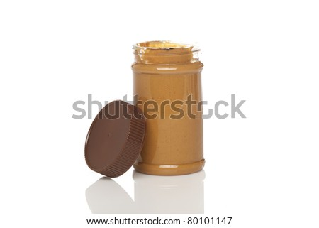 A jar of peanut butter against a white background
