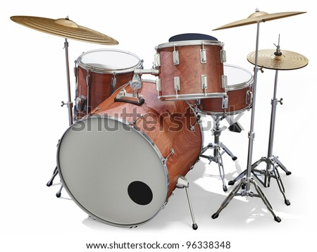 A Jazz drumkit on a white background - stock photo