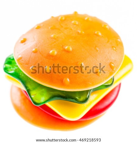 a jelly gummy hamburger isolated over a white background