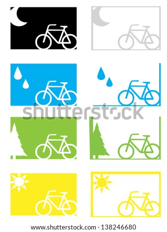 A jpg version of a set of weather condition cycling graphics - stock photo