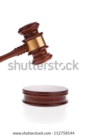 a judge or auction hammer hammer. isolated against white background. - stock photo