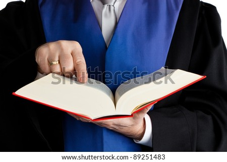 a judge with a law book in court. against a white background