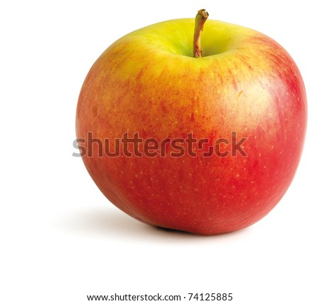 a juicy red apple on a white background with clipping path