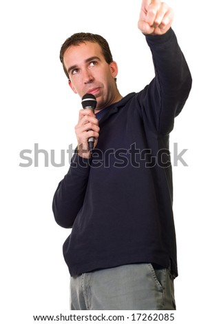 A karaoke singer isolated on a white background