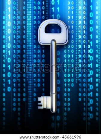 A key to access some digital content. Digital illustration - stock photo