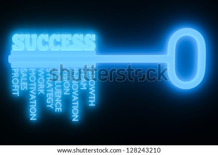a key with word success, business concept - stock photo