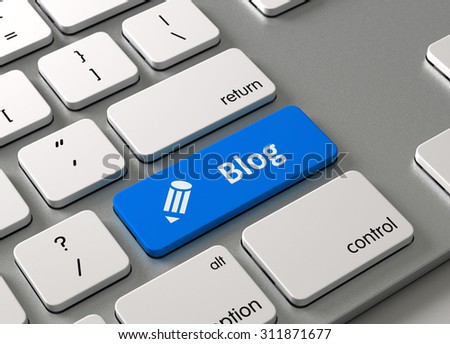 A keyboard with a blue button Blog
