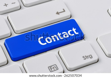 A keyboard with a blue button - Contact - stock photo