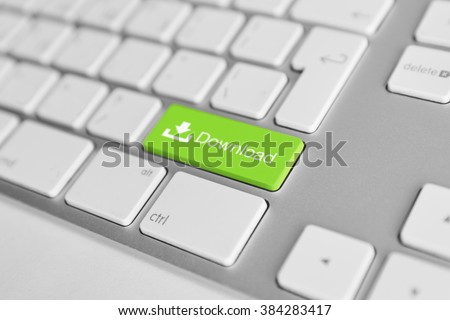 A keyboard with a green button - download