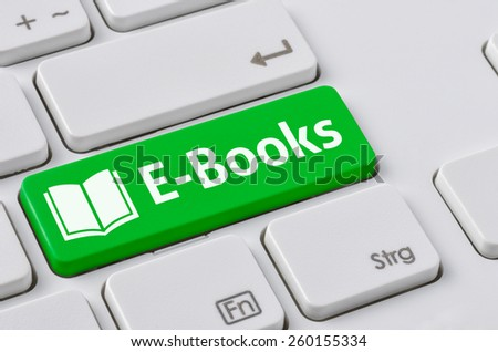 A keyboard with a green button - E-Books - stock photo