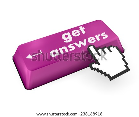 A keyboard with a key reading get answers - stock photo