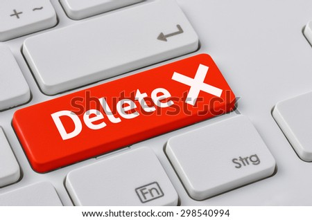 A keyboard with a red button - Delete - stock photo