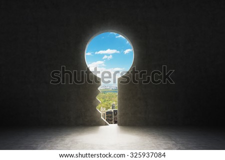 A keyhole in the concrete wall. New York City view in the hole. - stock photo