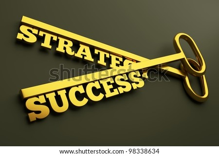 """a keys with words """"strategy"""" and """"success"""", business concept - stock photo"""