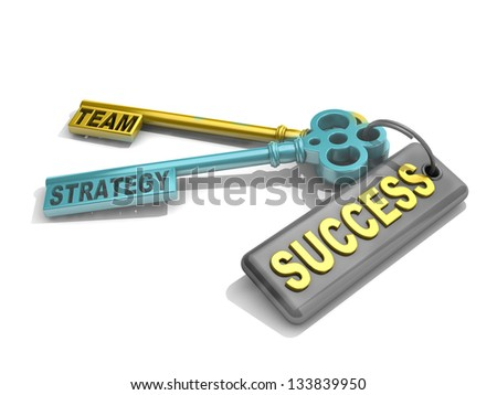 "a keys with words ""team"", ""strategy"" and ""success"" , business concept - stock photo"