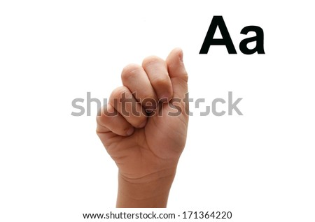 A kid hand spelling american sign language ASL - stock photo