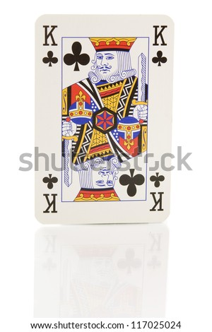 a king card on white - stock photo