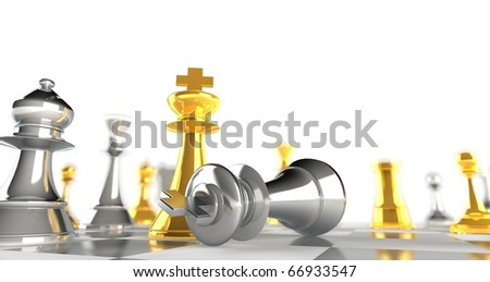 A king chess piece defeating another - gold + silver - stock photo