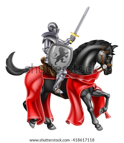 A knight on horse back holding a sword and shield with a lion heraldic motiff - stock photo