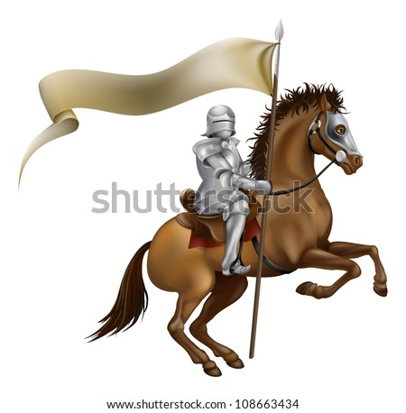 A knight with spear and banner mounted on a powerful horse - stock photo