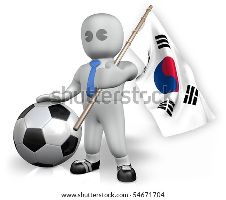 A Korea Republic football fan with a ball and a flag - stock photo