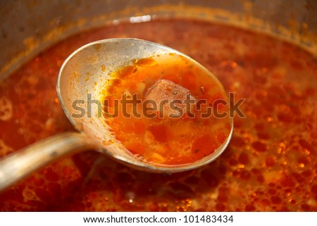 A ladle of fish soup - stock photo