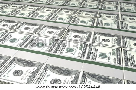 A laid out collection of bundled one hundred dollar bill notes - stock photo