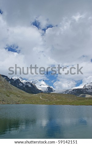 A lake in the Swiss alps close to Matterhorn