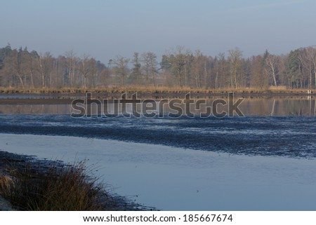 a lake next to Schwandorf in Bavaria in the morning - stock photo
