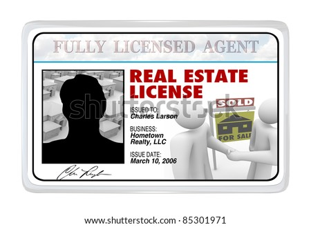 A laminated identification I.D. card or for a real estate license that a buying or selling professional would use to prove his credentials and certification to do business - stock photo
